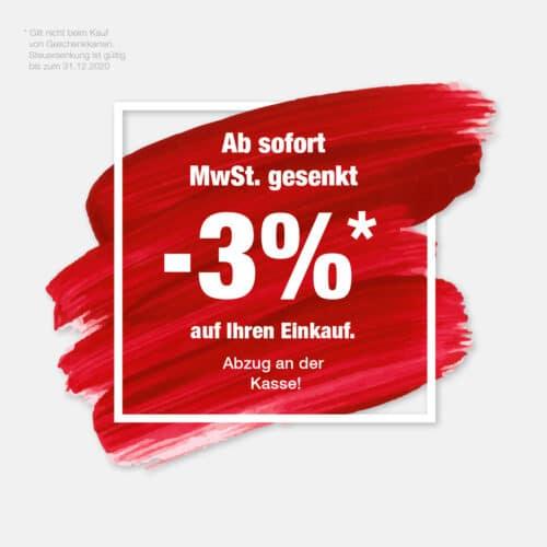 Mehrwertsteuersenkung bei Schuh Mücke - 3% bei Ihrem Einkauf