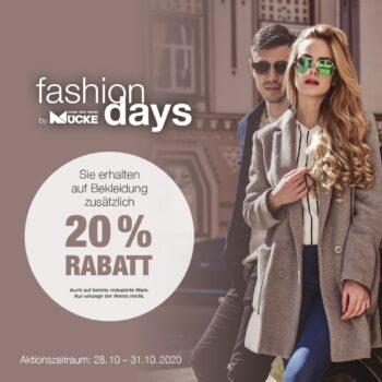 Fashion Days bei Mücke - 20% Rabatt auf Bekleidung